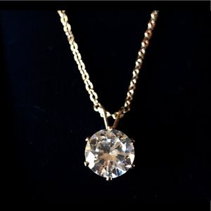 """Jewelry - Cubic Zirconia Solitaire Pendant with 18"""" Chain"""
